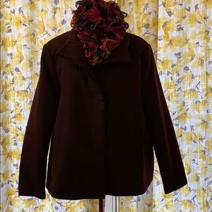 Deep burgundy short pea coat